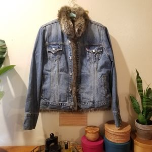OOAK Upcycled Faux fur-lined Levi's Jacket